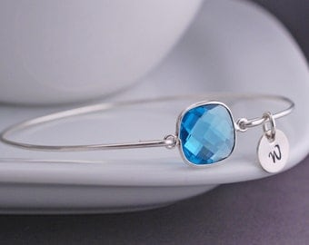 Blue Topaz Bangle Bracelet, Personalized Gemstone Bangle Bracelet, Blue Topaz Jewelry