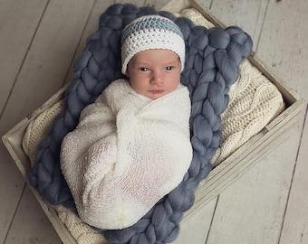 Crochet Baby Hat, Baby Boy Beanie, Baby Newborn Hat, Baby Boy Hat, Baby Boy, Newborn Prop, White Grey Blue, Newborn Baby Hat, Newborn Beanie