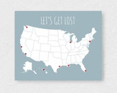 Large US Map Poster, Modern Travel Map With Stickers, USA Road Trip DIY Kit, Couple Map, Anniversary Gift, Let's Get Lost Poster