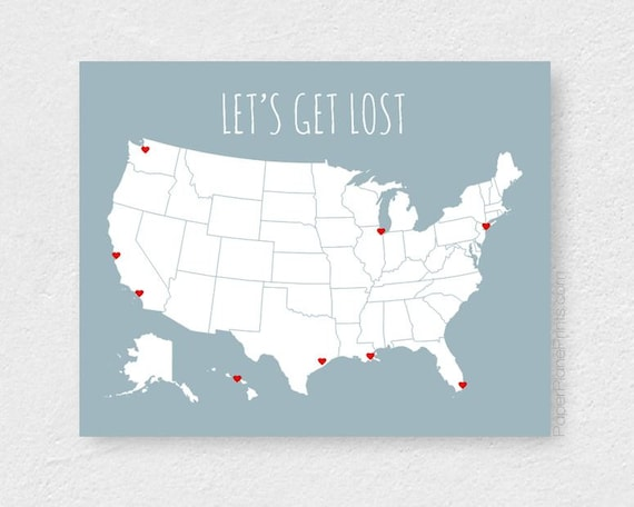 Large US Map Poster Modern Travel Map With Stickers USA Road