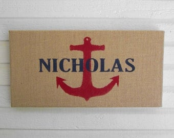 Anchor  - Personalized Name  - 12 x 24 Burlap over Cork Message Board, Pin Board, Memo Board, Bulletin Board - Nautical Wall Decor
