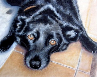 Original custom dog portrait painting from your photo, oil painting on canvas, pet portrait or any animal, example black labrador