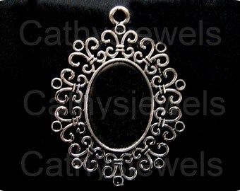 Radiance Antique Silver Cameo Settings 10 Pieces