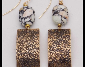 MIRA - Striated Turquoise - Handforged Bronze & 14KT GF Statement Earrings