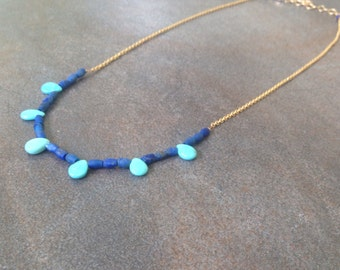 Sleeping Beauty turquoise teardropds and Matte Lapis bohemian one of a kind necklace.