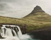 "Waterfall Photography, Kirkjufellsfoss Iceland, Landscape Photography, Waterfall Art, Nature, Mountain, Green, Brown, ""Water Dance"""