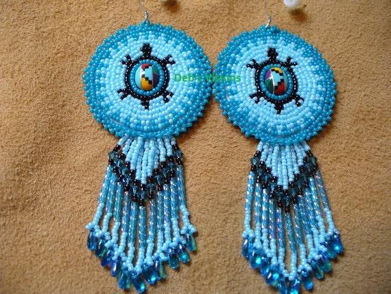 rosette style beaded american style turtle earrings in