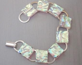 Crystal Rainbow Fused Glass Bracelet,  Dichroic  Link Bracelet, Holiday Jewelry, Fused Glass Bracelet - Dancing in the Dark