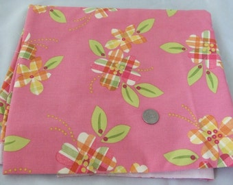 Plaid Floral Decorator Weight Cotton Fabric - Destash