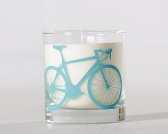 Turquoise Bike Candle - Warm Laundry - Soy candle in reuseable screen printed bicycle rocks glass