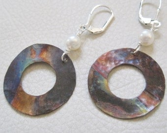 Fired Up in White Circle, Copper and Freshwater Pearl Earrings
