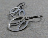 Vintage Steel Charm Earrings Pi Earrings Gray Oxidized Sterling Silver Earrings