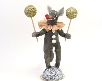 Spun Cotton Vintage Style Woodland Circus Clown Wolf