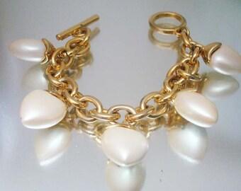 Joan Rivers Pearlized Puffy Heart Charm Bracelet Unused Vintage