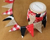 Farm themed Ribbon roll. Cake stand bunting. Burlap mini bunting on wooden spool. Cake bunting in black cow print