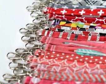 Wrist strap. key fob or key chain. Designer fabrics with swivel clip. Choose your fabric.