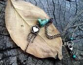 Turquoise Fringe Heart Necklace