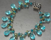 Swiss Blue Quartz, Peridot, Apatite, London Blue Quartz Charm Oxidized Bracelet