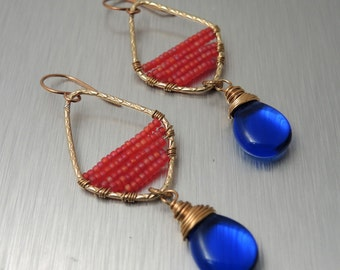 Blue and Magenta Beaded Earrings - Czech Glass Bead Earrings - Brass Wire Work Earrings