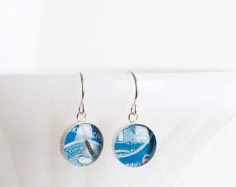 Drop earrings | Postage stamp | Germany | Blue | Dangle