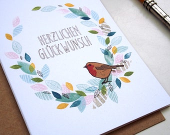 Herzlichen Glückwunsch - greeting card - A6 - 100% ECO recycled paper
