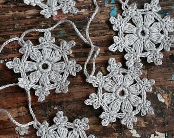 Crochet Garland - Small Doily Bunting -- Snowflake garland - Grey -- 10 snowflakes