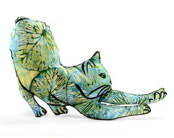 decorative pillow, cat pillow, animal pillow, stretching cat shaped medium pillow kitty softie blue green batik fabric
