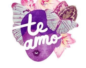 Te Amo Typography Print, (Purple Floral Portrait Valentine Illustration)