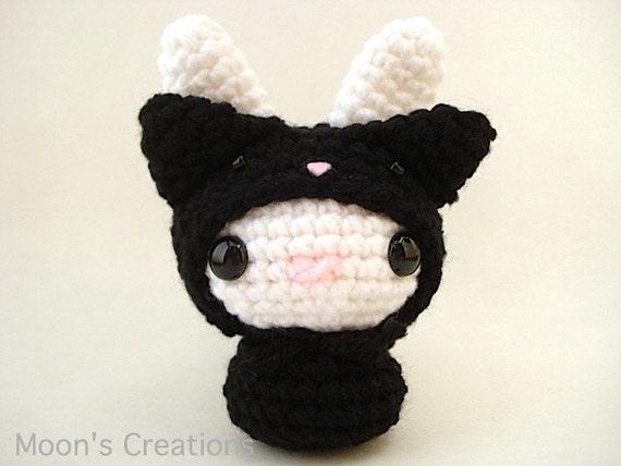 Amigurumi Doll Hair Bun : Black Cat Moon Bun Amigurumi Bunny Rabbit Doll in a Cat