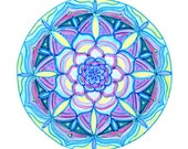 Cosmic Circle, Mandala, Vision Circle, Bohemian, Sacred Geometry, Hippie, Eco-Friendly, Blue Lotus, Flower, Light, Better than stickers!