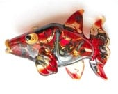Red Shiny Glass fish necklace, Lampwork Glass Beads, handmade focal bead, ocean bead, jewelry supplies, SRAJD, CGGE