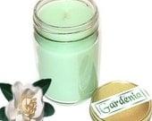 Gardenia Mason Jar Candle Floral Scent 12 Oz Handmade
