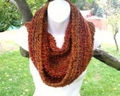 Unisex Scarf Infinity Circle Cowl Handmade Michigan Orange Brown Red Wildfire Colors