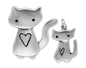 Mother Daughter Cat Necklace Set - Set of Two Sterling Silver Cat Pendants