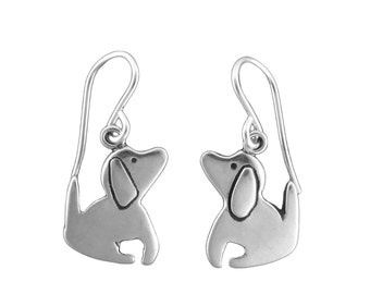 Little Dog Earrings - Sterling Silver Good Dog Earrings