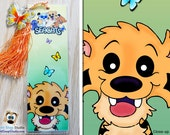 2 Pack: Cartoon Tiger Bookmark with Butterfly Charm, THE SEACATS Chizzel Saber Tooth Tiger