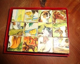 Vintage childrens puzzle /Animal Puzzle/ Farm Puzzle/Collectible childrens puzzle/Childs Puzzle/Animal blocks/ Childrens vintage blocks