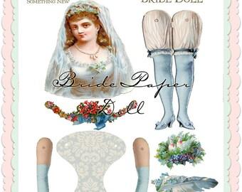Bride Digital Art Doll collage sheet