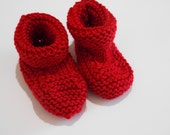 red baby booties gender neutral boy or girl newborn knitted crib shoes 0-3 , 3-6 months, 6-12 months