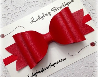 Red Faux Leather Oversized Hair Bow ~ Headband Clip or Barrette ~ Custom Choice ~ Christmas Holiday or Valentine's Day ~