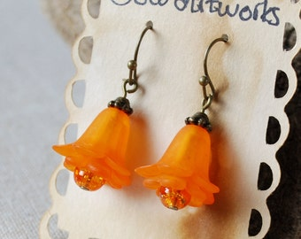 Orange Flowers with Crackle Glass Dangle Earrings