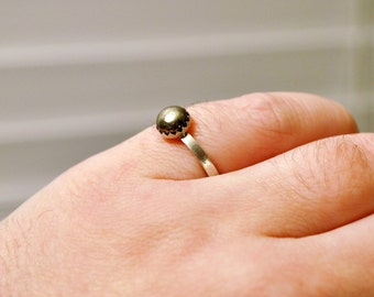 Pyrite Gold Stone Cabochon Ring in Sterling Silver Size 6 Gemstone Band Ring