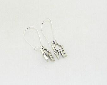 Antique silver handmade love charm dangle earrings, heart, sweetheart, Valentine, jewelry