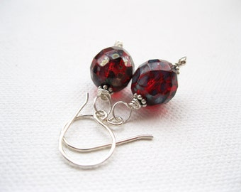 Deep Red Bead Earrings. Sterling Silver Earrings. Red Glass Bead Earrings. Deep Red Gothic Earrings. Gift For Her. Gifts Under 20. UK Seller