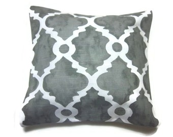 Decorative Pillow Cover Mottled Gray White Damask Geometric Design Same Fabric Front/BackToss Throw Accent 18x18 inch x
