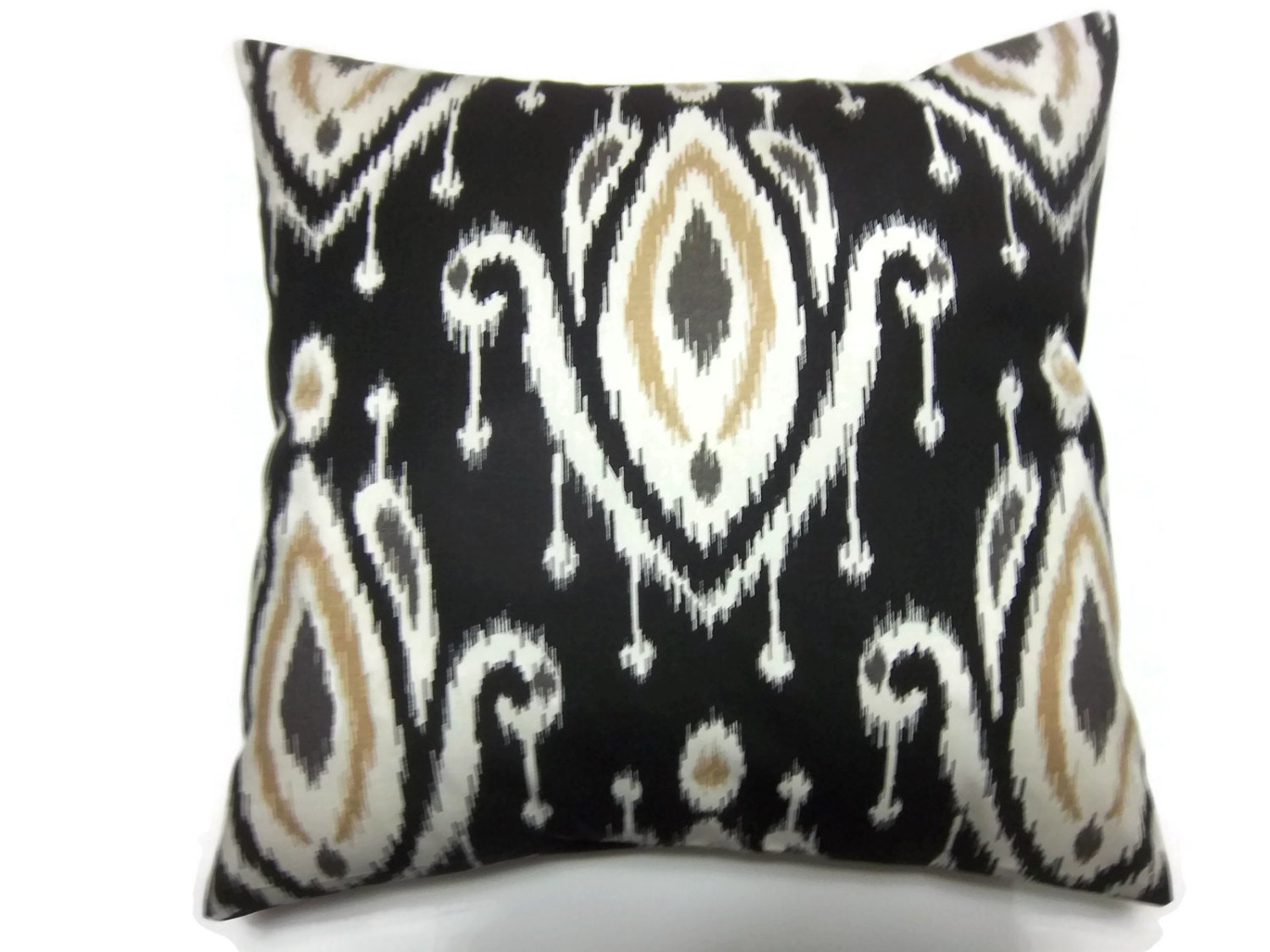 Throw Pillow Cover Designs : Decorative Pillow Cover Ikat Design Black White Camel Gray