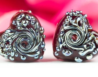 Romance - Lampwork Glass Heart Bead Pair by Clare Scott SRA Lustre Red