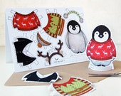 Penguin Dress Up Christmas Card. Penguin Paper Dolls Card. Paper Doll Penguin Toy. Kids Penguin Christmas Craft Activity.