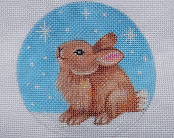 "Handpainted 4"" Snow Bunny needlepoint canvas"