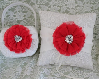Ivory and Lace Ring Bearer Pillow and Flower Girl Basket with Chiffon Flower in Red and Pearls and Rhinestones